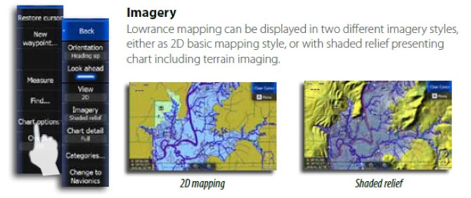 How to turn on Shaded Relief on the HDS Touch series?