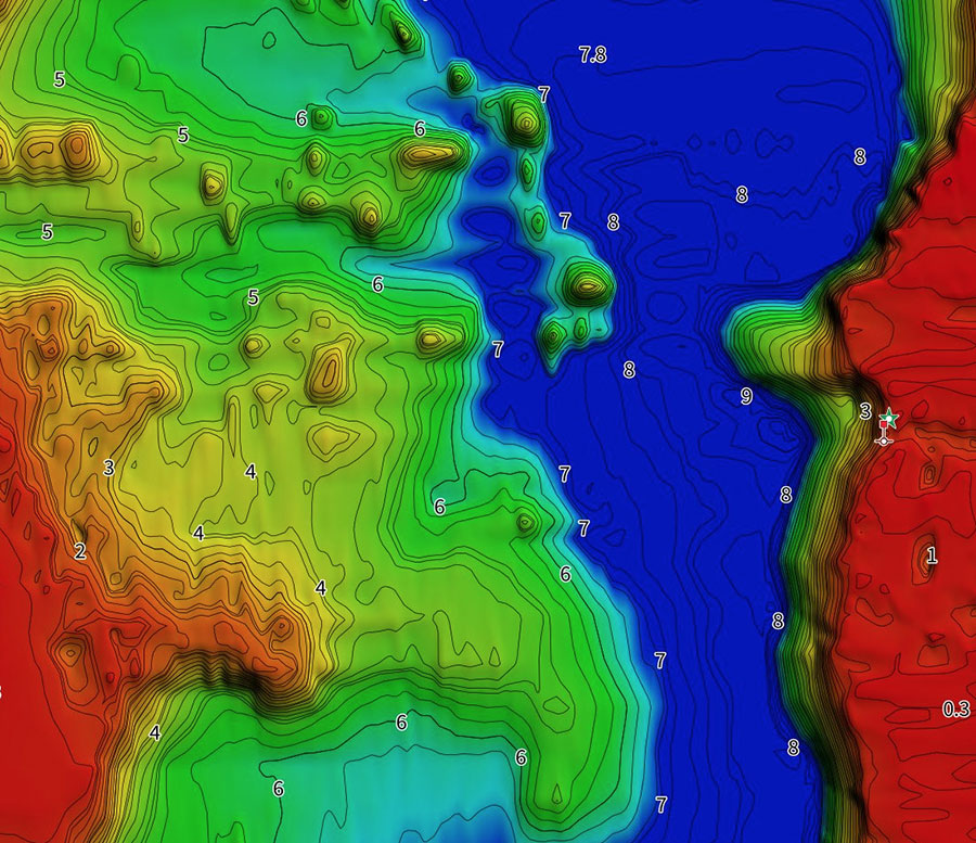 Charted Waters Map Card Bathymetric Imagery