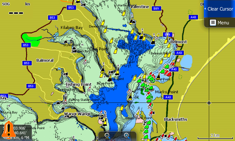 Lake Macquarie Map Card Charted Waters - Water depth map