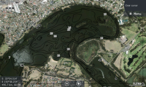 "Satellite view on the sounder, search for weed beds and sand bars. handy for finding ""sneaky"" little channels"
